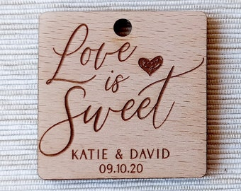 Chocolate Candy Custom Personalized Names Thank You Tags Wedding Favor Tags Hugs /& Kisses from the New Mr Mrs Champagne Tags 10PCS