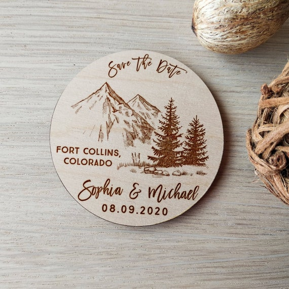 Personalized Rustic Wooden Tree Save the date magnets Wedding favors 10PCS