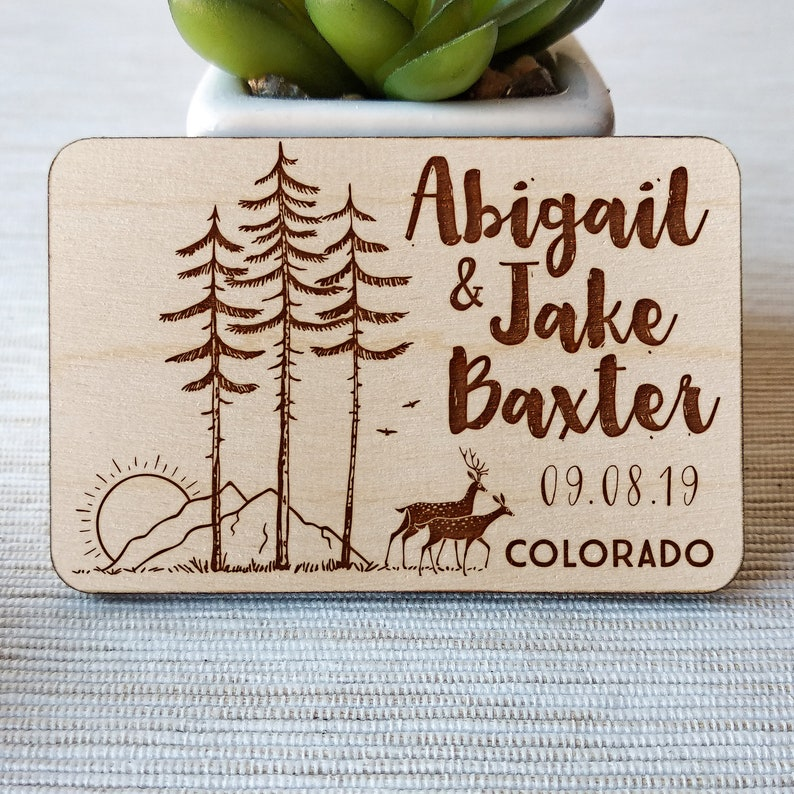 Rustic Mountain Wooden save the date magnets Rustic Wedding Adventure wood magnet 10PCS