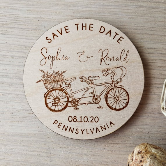 Unique Magnets Wooden Bike Save The Date Magnets Wooden Magnets Rustic Wedding Wedding Invitation Save The Dates Cycling Lover