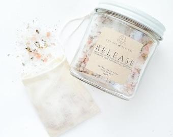 RELEASE - Herbal Bath Salts | Bath Salts in a jar | | Essential Oil Bath | Lavender Chamomile | Self Care | Herbal Healing | Muslin Sachet
