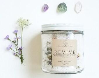 REVIVE - Herbal Bath Salts | Bath Salts in a jar | | Essential Oil Bath | Neroli | Wildflowers | Self Care | Herbal Healing | Muslin Sachet