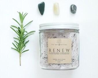 RENEW - Herbal Bath Salts | Bath Salts in a jar | | Essential Oil Bath | Rosemary Eucalyptus | Self Care | Herbal Healing | Muslin Sachet