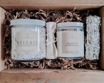BATH RITUAL KIT | Herbal Bath Salts | Wood Wick Soy Candle | White Sage Bundle | Muslin Sachet