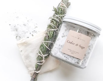 CEDAR & SAGE - Herbal Bath Salts *limited time* | Bath Salts in a jar | | Essential Oil Bath | Self Care | Herbal Healing | Muslin Sachet
