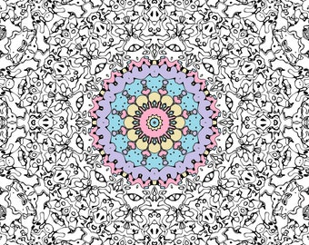 Trippy Bohemian Symmetrical Mandala Coloring Pages, 25 pages, Digital Download!
