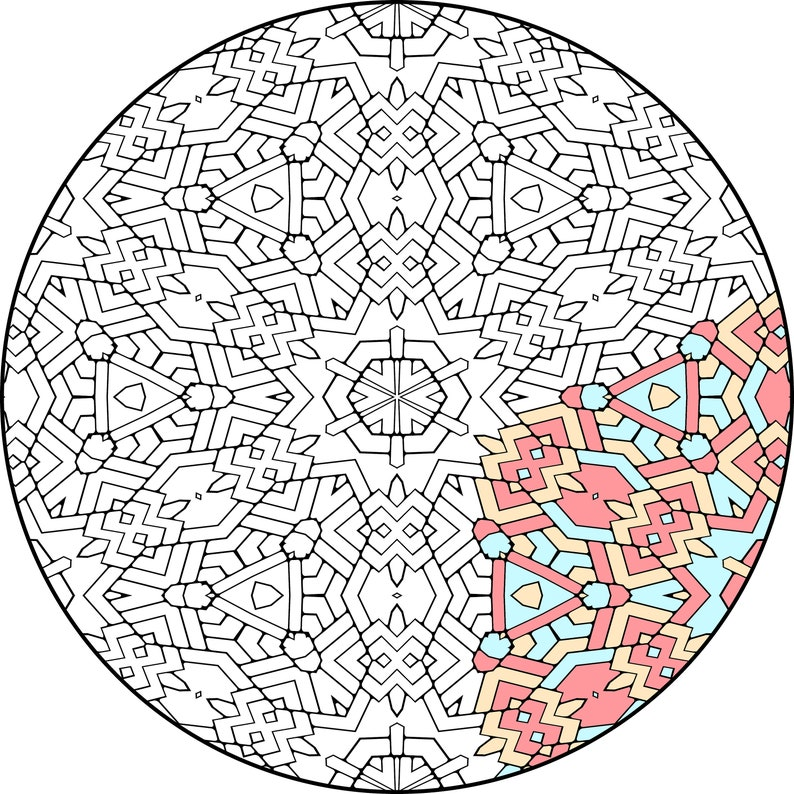 Intricate Groovy Symmetrical Mandala Coloring Pages 25 pages image 0