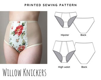 Printed Sewing Pattern Willow Knickers/panties - High Waist and Hipster style - Choose from A0 or A4 cut and stick together pattern format