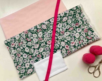 Knicker and Panties Sewing Kit- Sage Floral and Fuscia elastic - DIY Lingerie - knicker making kit - sewing supplies - sewing kit