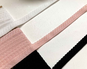 9m of pre-folded Fold-over Elastic with a pretty scallop edge. 3 different colours, Ivory, Rose Pink, Black. Sewing Supplies, Knicker making
