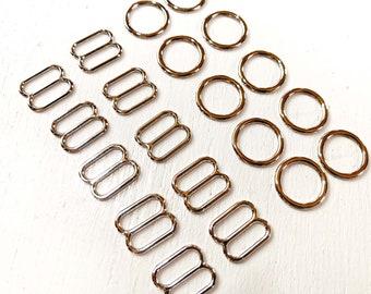 Silver Coloured Rings and Sliders Set 10mm wide - lingerie findings - Notions - hardware - bra adjusters - DIY Lingerie-swimwear