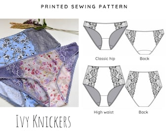 Printed Sewing Pattern Ivy Lace Knickers/Panties- High waist and classic style - Choose from A0 or A4 cut and stick together.