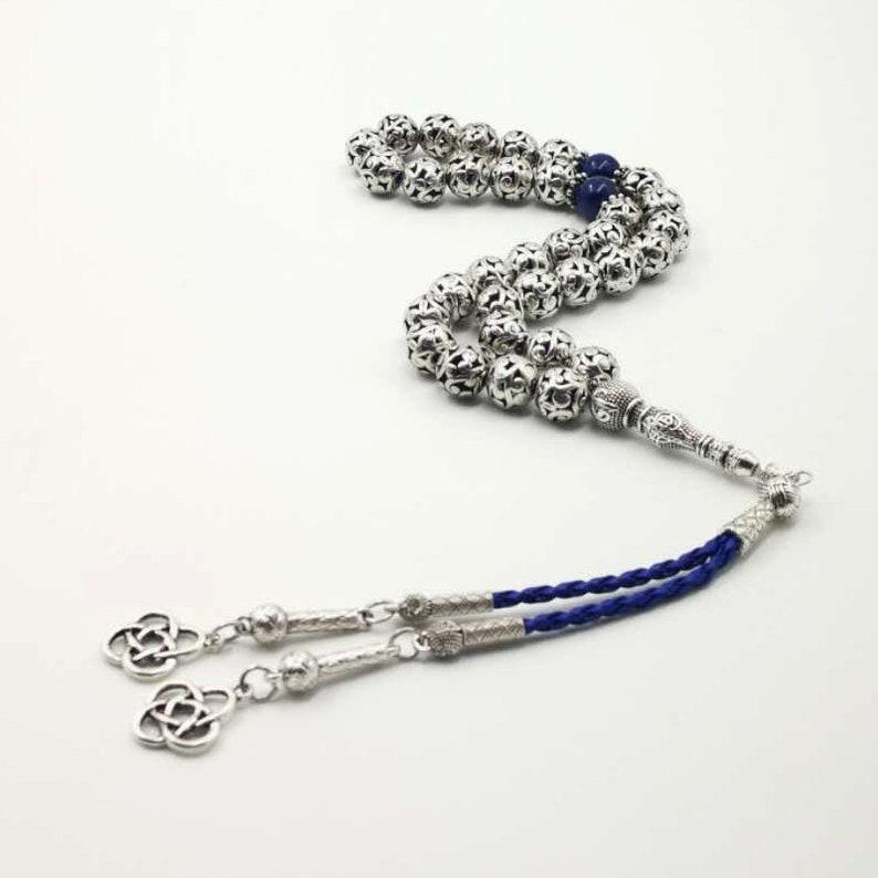 Man/'s Tasbih Silver alloy beads With Natural lapis lazuli stone Muslim Bracelet