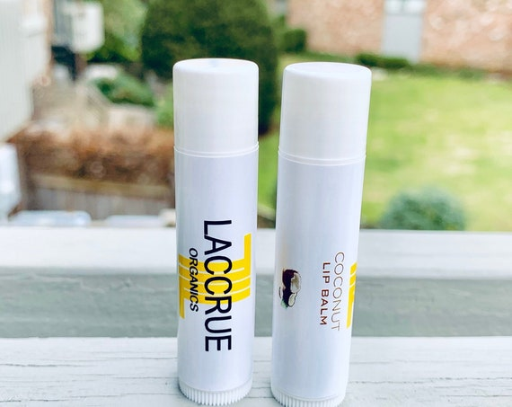 LACCRUE Organic Coconut Lip Balm - Handcrafted - organic lip balm - natural lip balm - lip care - tropical organics - fruity lip balm