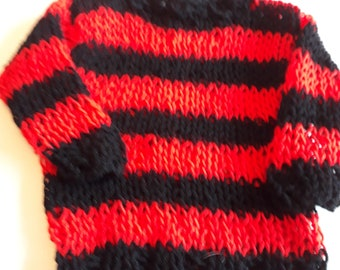 d21e6ea9f Baby Punk Jumper / Sweater. Hand Knitted Loose knit. Red and Black Stripe  0-3 months. Punk Goth Rock Grunge Boho Emo Festival Hippy