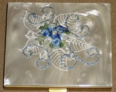 Vintage Mother of Pearl Powder Compact, AGME Switzerland, Box Felt Pouch