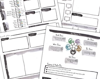Legend of the Five Rings character sheet redesign + Reference Sheet + Session Notes sheet