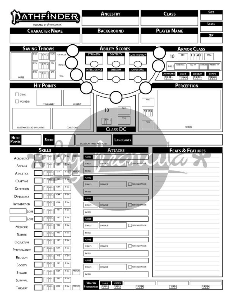 Pathfinder 2nd Edition character sheet (5 pages