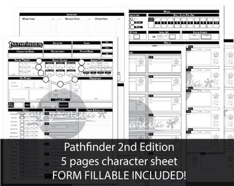 Pathfinder 2nd Edition character sheet (5 pages; FORM FILLABLE INCLUDED)