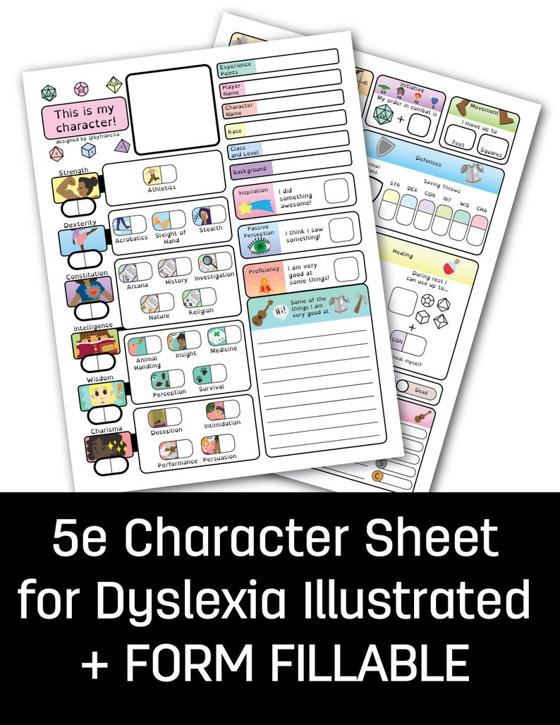D&D 5e character sheet for dyslexia 4 pages FORM FILLABLE image 0
