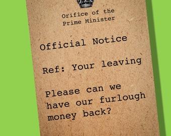 Funny leaving card | Sorry you're leaving card | Farewell card | Lockdown Card | Boris leaving Card | Quarantine card | Furlough card