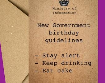 Funny Birthday Card   Boris card   Birthday Card   Card for him   Isolation card   Lockdown   Birthday card for her   Stay alert   May