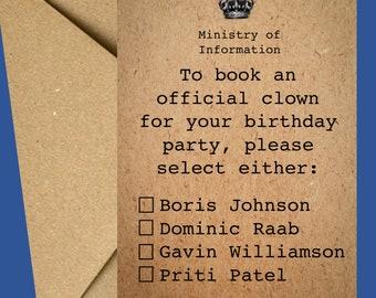 Funny Birthday Card | Boris card | Birthday Card | Card for him | June birthday card | Lockdown card | Birthday card for her | Clown