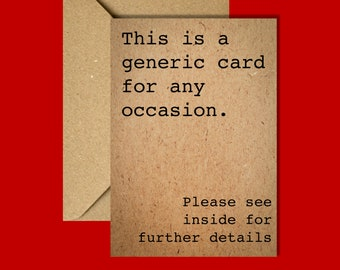 Birthday Card | Funny Card | Recycled Card | Greetings Card | Generic Card