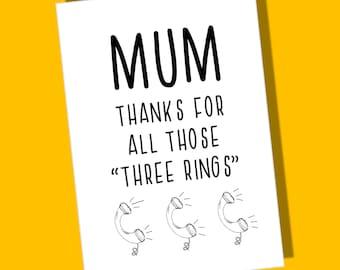 Mums Birthday Card | Mum | Birthday Card | Blank Inside | thinking of you | Phone | Motivational Card | Funny Card | Humour Card |