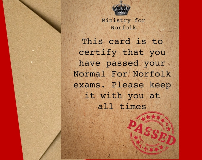 Funny Birthday Card | Birthday card for him | Norfolk Card | June birthday | July birthday | Birthday card for her | Normal for Norfolk