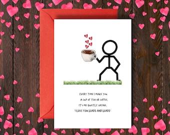 Anniversary Card | Love  | Cup of love | Love Card | Humour | cute card | Girlfriend Card | Boyfriend Card |Wine Card | Cup of Tea | Coffee