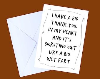 Thank you card | Thanks | Cute Card | Birthday Card | Funny Card | handmade Card | Humour Card | NHS thanks | Lockdown Card | Cheeky Card