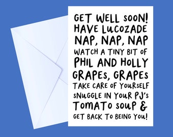 Get Well Soon Card | Get well soon | Healthy Eating | Recuperate | Funny Card | Banana Bread Card