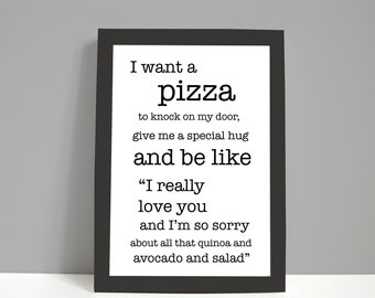 Food Print   Kitchen Print   Pizza   Funny Print   Gifts for Him   Gifts for Her   Framed Prints   Christmas Gifts   Healthy Eating