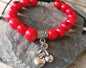 a95a3e06b206 Pulsera cereza pulsera roja brazalete cherry bracelet