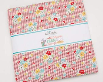 """Farm Girl Vintage Collection 42 piece 10"""" x 10"""" Stacker / Layer Cake by Lori Holt for Riley Blake Designs"""