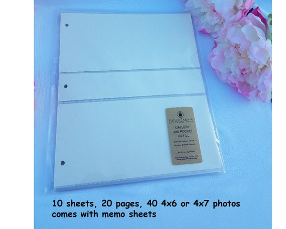 4 X 6 and 4 X 7 Photos with Memo and Negatives Insert Gallery Leather Classic Album Refills for 3 X 5