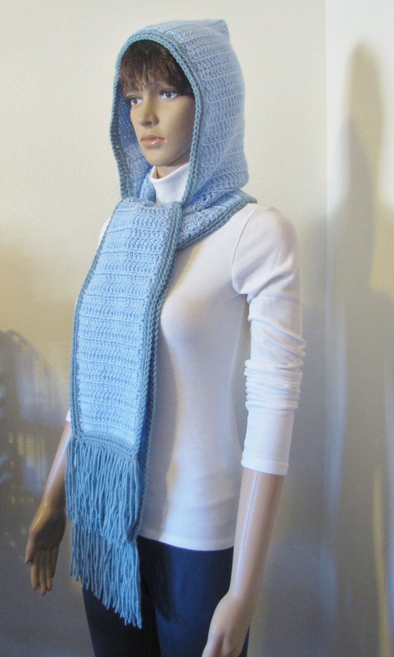 Crocheted Hooded Scarf in Baby Blue with Sea Green Trim Crochet Hooded Scarf Hooded Scarf Baby Blue Sea Green Crocheted Hooded Scarf HS6