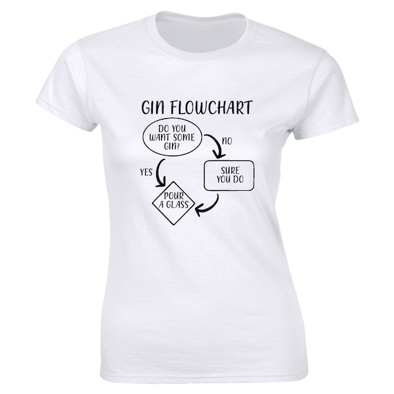 Funny GIN FLOWCHART T-Shirt Mens Womens