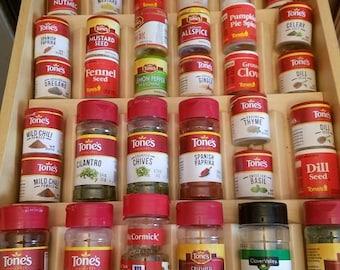 Custom spice drawer organizer