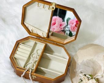 Kazakhstan wooden jewelry trinket lidded stash box bridesmaid gift rings earrings pin personalized