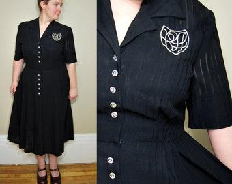 adfb19ec2cf XL Plus Size Vintage 1950s Black Dress • Monogram Sheer