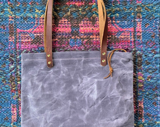 Featured listing image: Simple Waxed Canvas Tote / Waxed Canvas / Unlined / Zippered Top / Market Bag