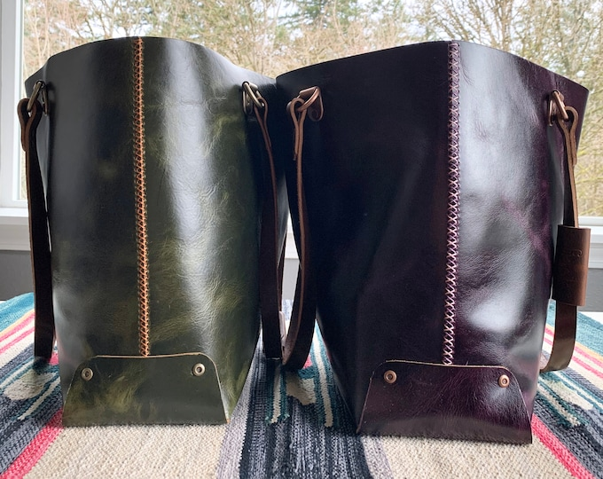 Featured listing image: Oversized Leather Cuffed Tote Bag / Full Grain Leather / Bridal Leather / Snap Cuff/ Drop Handle / Waxed Thread / Hand Stitched