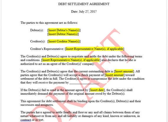 Debt Settlement Agreement Template