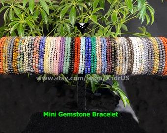 Gemstone Mini Beads Stretchy Bracelet/ 36 different stones to choose: Beryl, Garnet, Golden Obsidian,Kyanite, Malachite, Moon Stone, Lapis++
