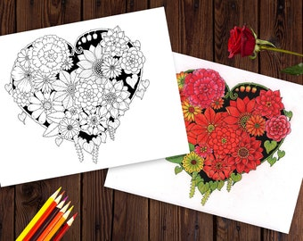Heart of Flowers Coloring Page