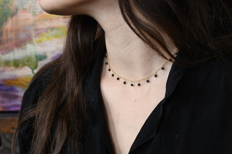 14k Gold Handmade Necklace with Onyx Charms