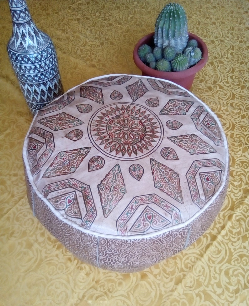 Large Moroccan handmade Genuine leather Pouf Cover D19.7 X H14 Diameter 50 cm, High 35 cm Footstool Ottoman pouffe