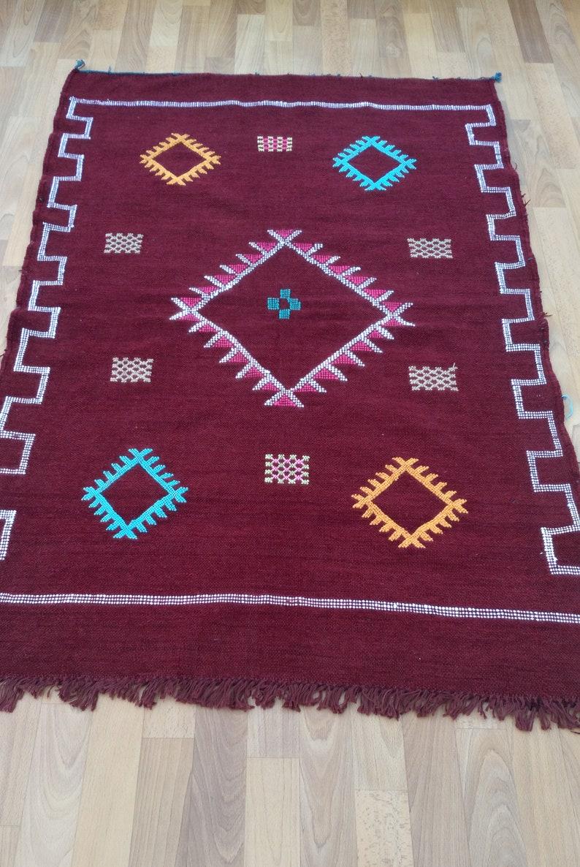 145 X 92 cm Light Moroccan Kilim rug authentic Highest Quality Berber Carpet 57\u2019\u2019 X 36\u2019\u2019
